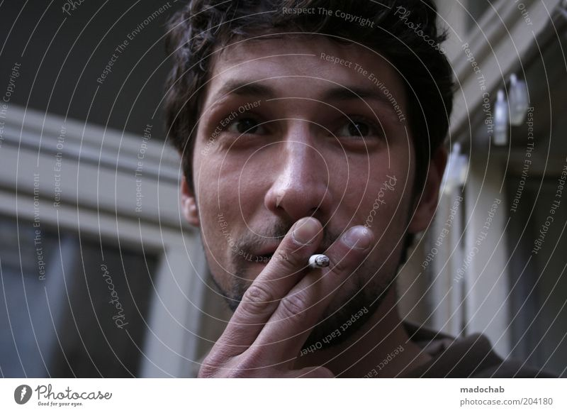 balcony delight Lifestyle Style Human being Masculine Man Adults Face 1 18 - 30 years Youth (Young adults) Serene Feeble Smoking Cigarette Tobacco