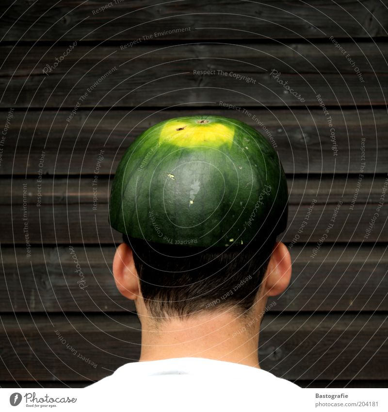 melon head 1 Human being Blossoming Derby Melon Water melon Helmet Hair and hairstyles Fruit Ear Jug ears Behind Nape Safety Headwear Cap Neck Vitamin