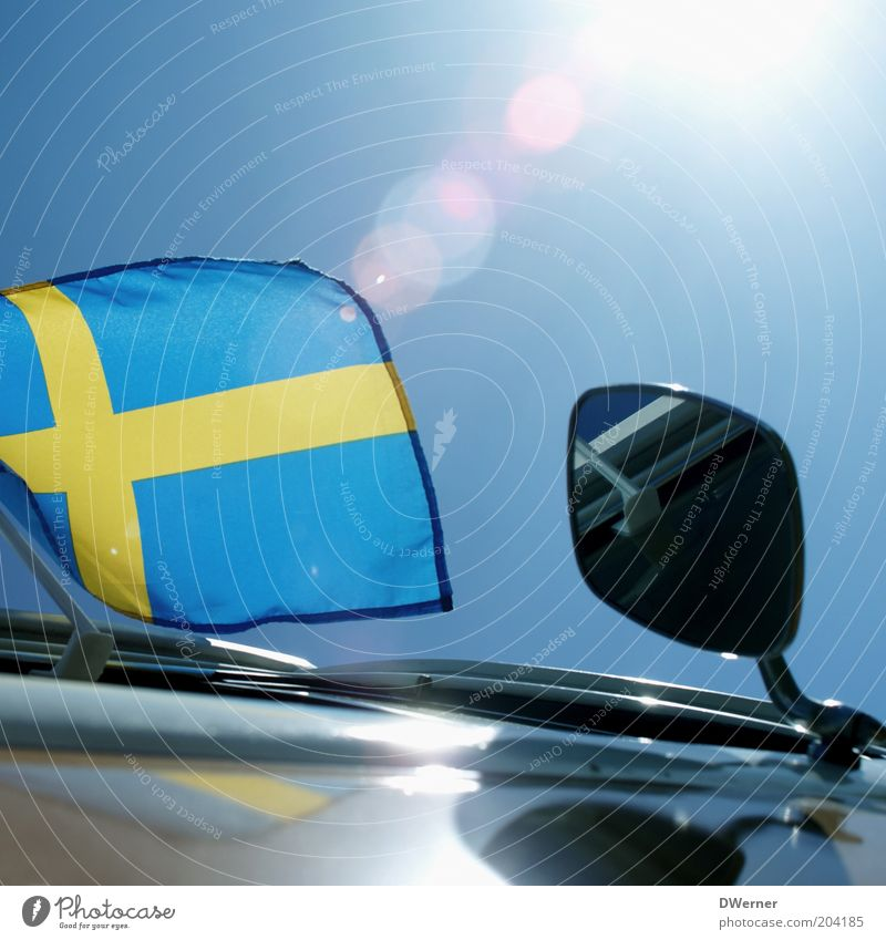 for all Swedish fans! Style Decoration Environment Sky Beautiful weather Wind Vintage car Glittering Blue Emotions Moody Flag Sweden Mirror car flag