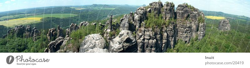 Mountain Saxony Large Rock Panorama (Format) Elbsandstone mountains Saxon Switzerland