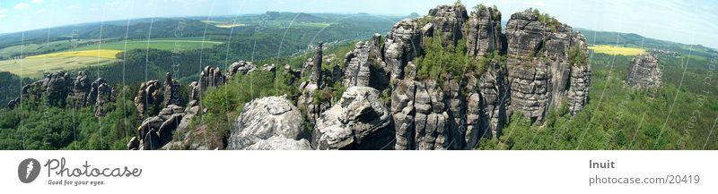 Mountain Saxony Large Rock Panorama (Format) Elbsandstone mountains Saxon Switzerland