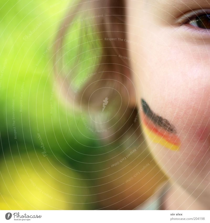 Human being Colour Red Girl Joy Black Yellow Eyes Hair and hairstyles Happy Gold Happiness Cute German Flag Flag Passion