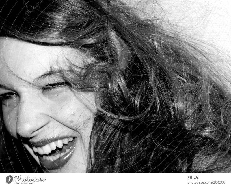 Human being Youth (Young adults) White Beautiful Black Face Feminine Emotions Hair and hairstyles Happy Laughter Funny Glittering Fresh Happiness Young woman