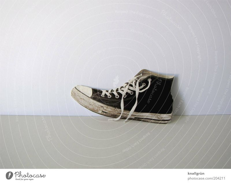 loner Fashion Footwear Sneakers Shoelace Chucks String Old Dirty Hip & trendy Modern Gray Black White Uniqueness Trite Unique specimen Black & white photo