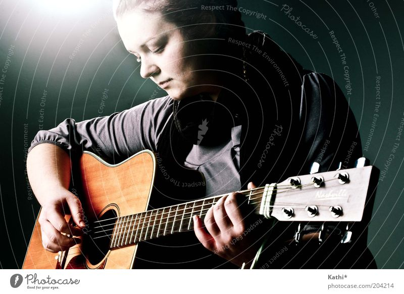 resting Feminine Woman Adults Artist Music Musician Guitar Playing Dream Elegant Near Natural Beautiful Eroticism Gray Honor Passion Safety (feeling of) Caution