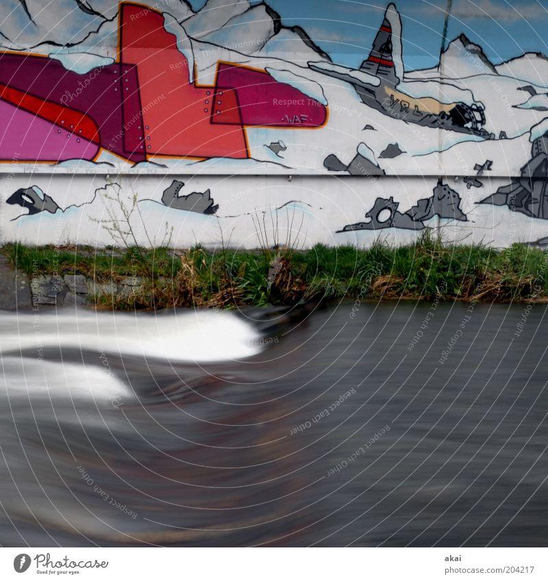 Water Blue Red Snow Mountain Gray Graffiti Airplane 3 Bridge River Brook River bank Street art Freiburg im Breisgau Youth culture