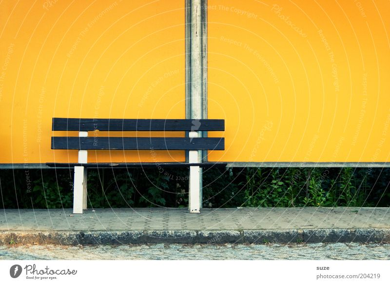 Postbank Village Small Town Outskirts Bench Stop (public transport) Wall (barrier) Wall (building) Street Lanes & trails Simple Yellow Loneliness Boredom