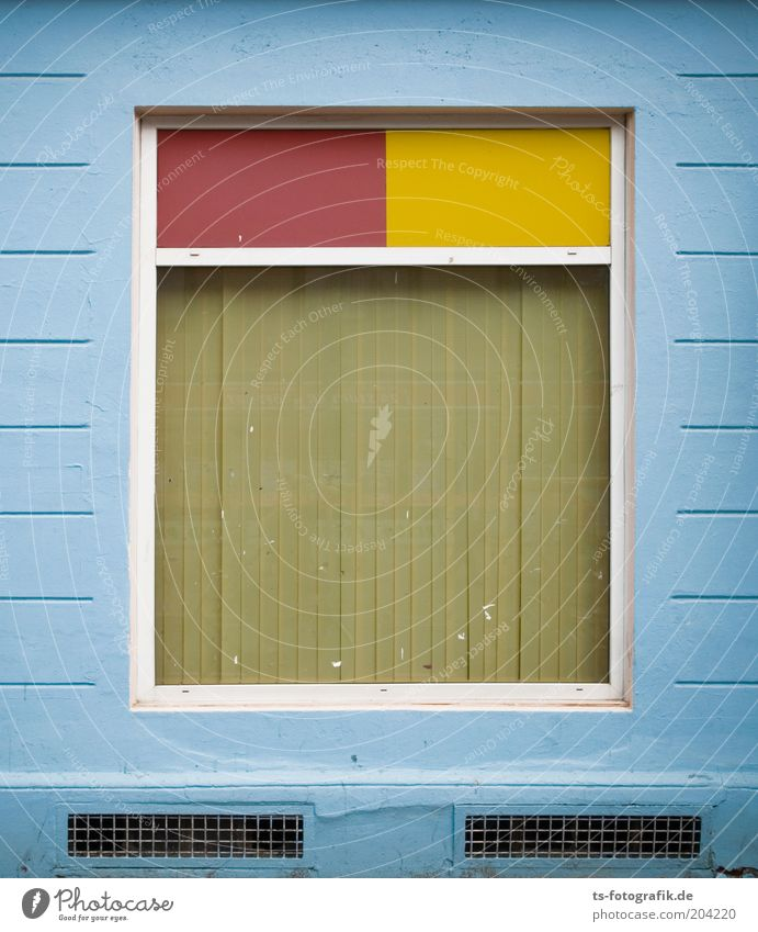 right angled Deserted Wall (barrier) Wall (building) Facade Window Stone Line Rectangle Window pane Blue Yellow Red Light blue Hidden Symmetry Colour photo