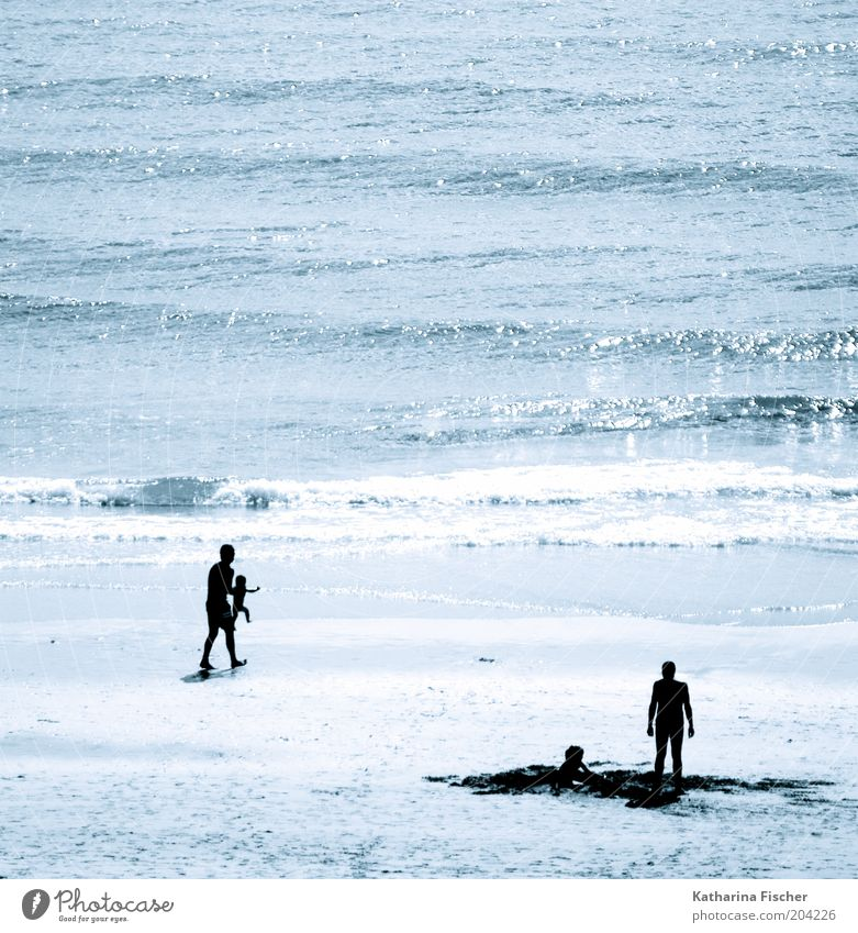 Human being Child Man Nature Blue Water Vacation & Travel Summer Ocean Beach Black Relaxation Environment Coast Sand Waves