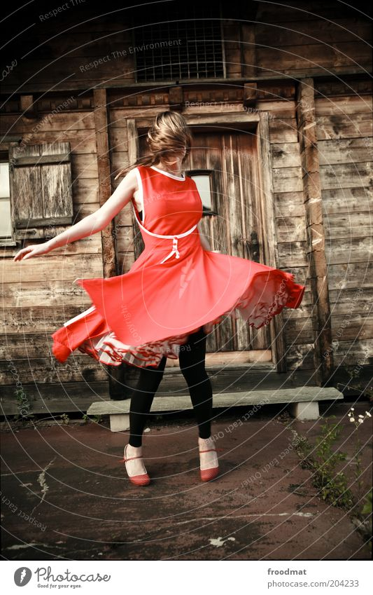 Woman Human being Youth (Young adults) Beautiful Red Joy Feminine Movement Dance Feasts & Celebrations Fashion Blonde Adults Crazy