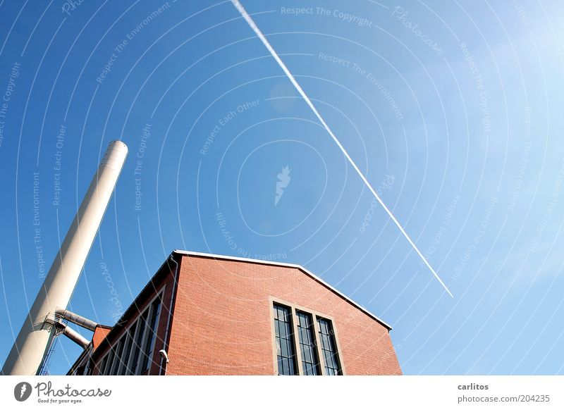 Sky White Blue Red Far-off places Wall (building) Window Wall (barrier) Airplane Flying Energy Perspective Energy industry Factory Thin