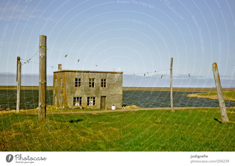 Water Old Sky Ocean House (Residential Structure) Loneliness Meadow Building Coast Idyll Hut Bay Iceland Beautiful weather Rural Clothesline