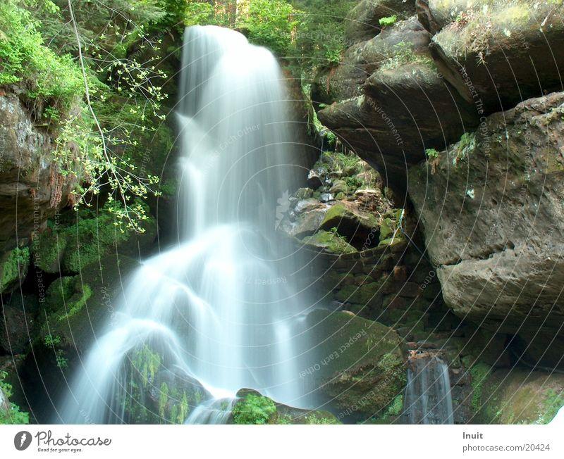 waterfall Hissing Saxon Switzerland Rock Stone Lichtenhain
