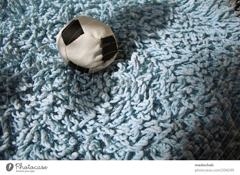 women's football Foot ball Colour photo Subdued colour Exterior shot Close-up Deserted Day Carpet Toys Ball Light blue Cloth 1 Soft Shadow