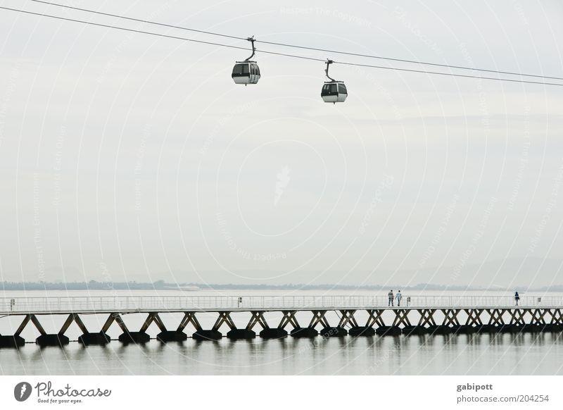 Water Vacation & Travel Calm Black Gray Air Horizon Hope Bridge Future Tourism River Serene Surrealism River bank