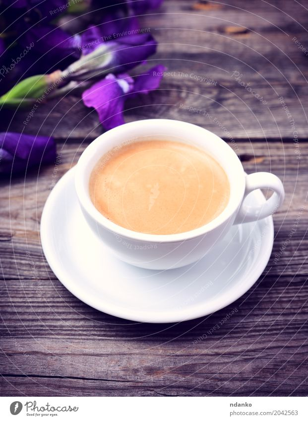 cup of fragrant black coffee White Flower Wood Gray Above Fresh Retro Table Coffee Bouquet Hot Breakfast Restaurant Café Crack & Rip & Tear Top