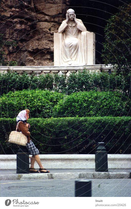 Woman Sit Observe Provence Statue France Boredom Marseille