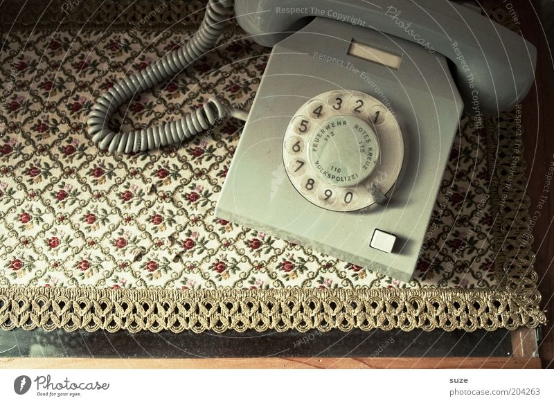 Phone Telecommunications Telephone Communicate Old Retro Contact Past Emergency call GDR Iconic Rotary dial Nostalgia Receiver Old fashioned Gray