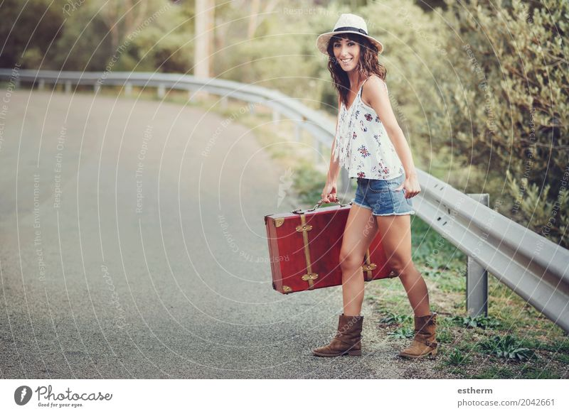 Young girl with a suitcase on the road Lifestyle Style Happy Beautiful Vacation & Travel Tourism Trip Adventure Freedom Sightseeing Summer Summer vacation