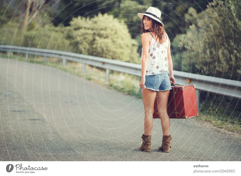 Young girl with a suitcase on the road Human being Vacation & Travel Youth (Young adults) Young woman Summer Adults Lifestyle Feminine Freedom Tourism Transport