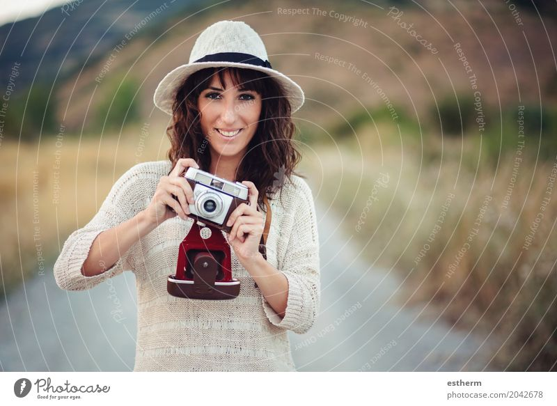 Smiling girl with camera in the field Lifestyle Leisure and hobbies Vacation & Travel Trip Adventure Sightseeing Camera Human being Feminine Young woman