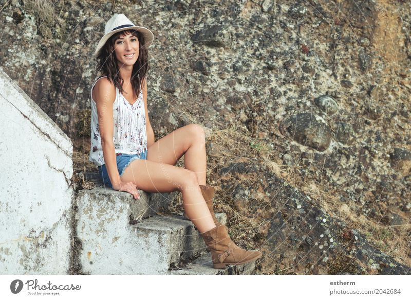 Smiling girl sitting on stairs Human being Woman Youth (Young adults) Young woman Adults Lifestyle Emotions Feminine Body Joie de vivre (Vitality) 30 - 45 years