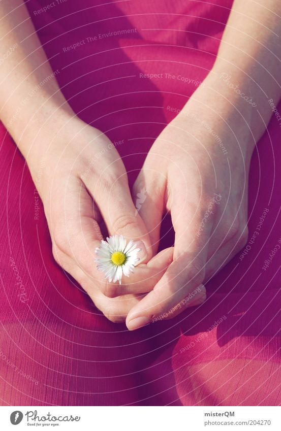 Lucky charm. Young woman Youth (Young adults) Woman Adults Esthetic Contentment Loneliness Peace Daisy Good luck charm Happy Hand Vulnerable Small Dress Calm