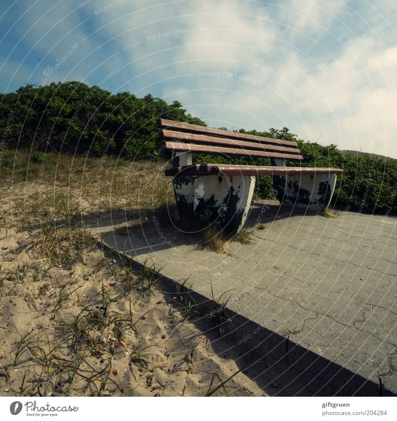 Sky Nature Plant Summer Clouds Environment Landscape Sand Stone Perspective Bushes Bench Beautiful weather Seating Summer vacation Paving tiles
