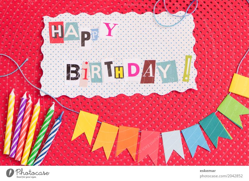 Happy Birthday Decoration Party Feasts & Celebrations Childrens birthsday Paper chain Flag Happiness Above Multicoloured Red White Joy Perspective