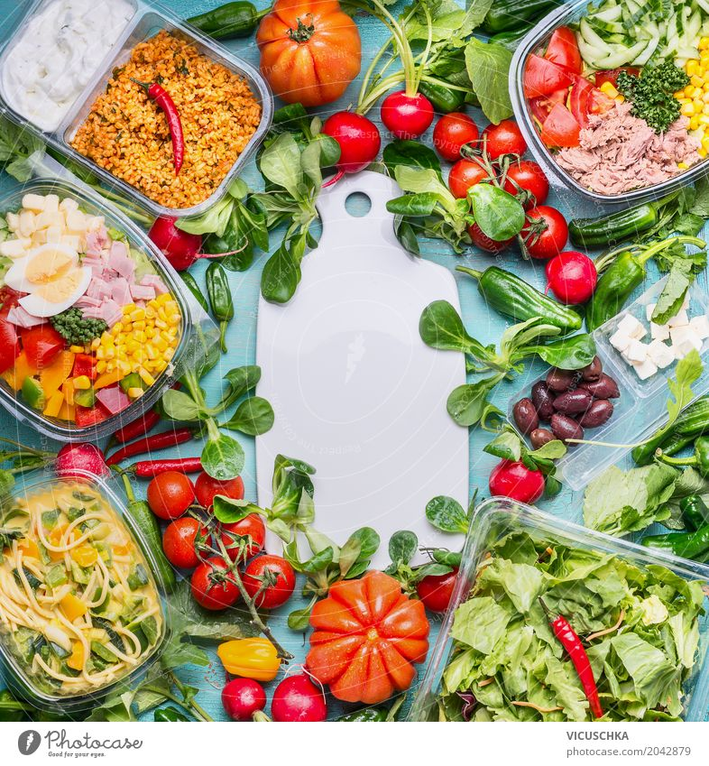 Healthy food with various salad lunch boxes Food Meat Fish Vegetable Lettuce Salad Nutrition Lunch Buffet Brunch Picnic Organic produce Diet Crockery Style