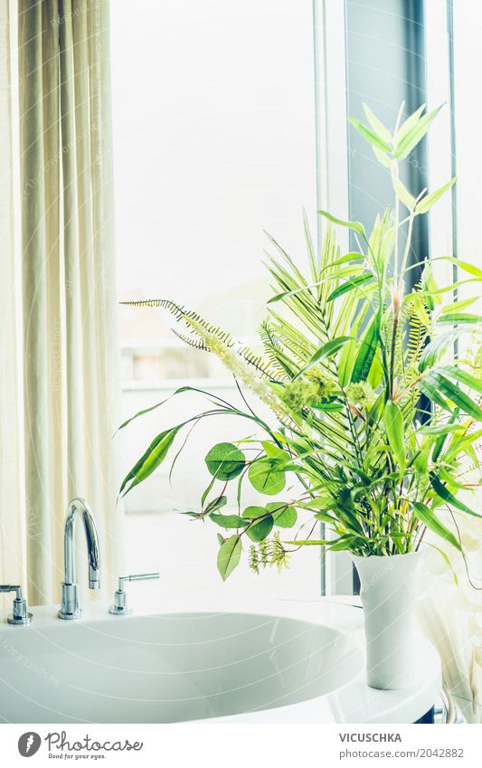 Green plants in a white vase in the bathroom Lifestyle Luxury Style Design Summer Living or residing Flat (apartment) House (Residential Structure)