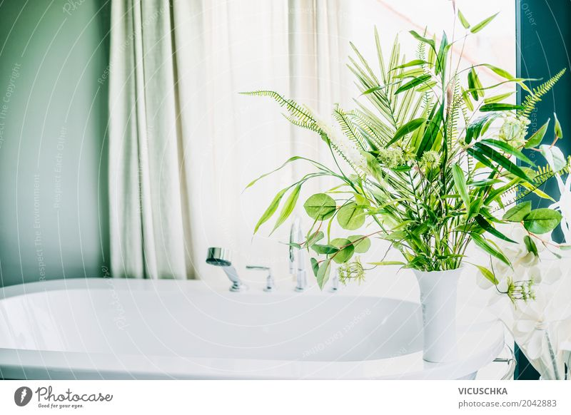 Green plants in bathroom Elegant Style Design Living or residing Flat (apartment) Interior design Decoration Room Bathroom Nature Plant Foliage plant
