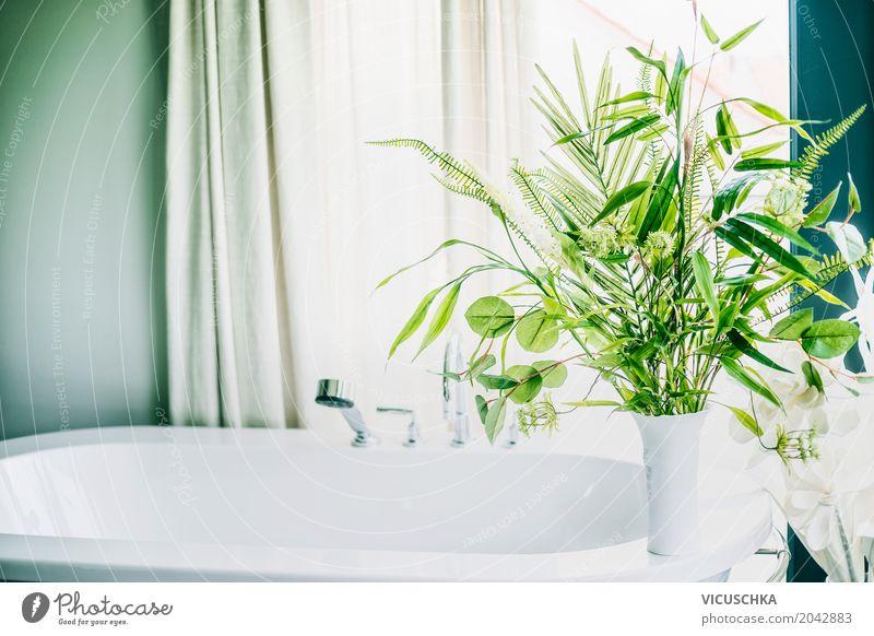 Green plants in bathroom Elegant Style Design Living or residing Flat (apartment) Interior design Decoration Room Bathroom Nature Plant Foliage plant