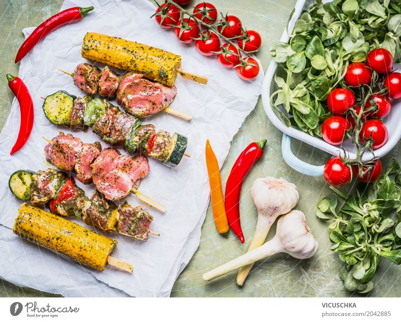 Meat skewers for grill with vegetables, corn ears Food Vegetable Lettuce Salad Herbs and spices Nutrition Lunch Banquet Picnic Organic produce Crockery Style