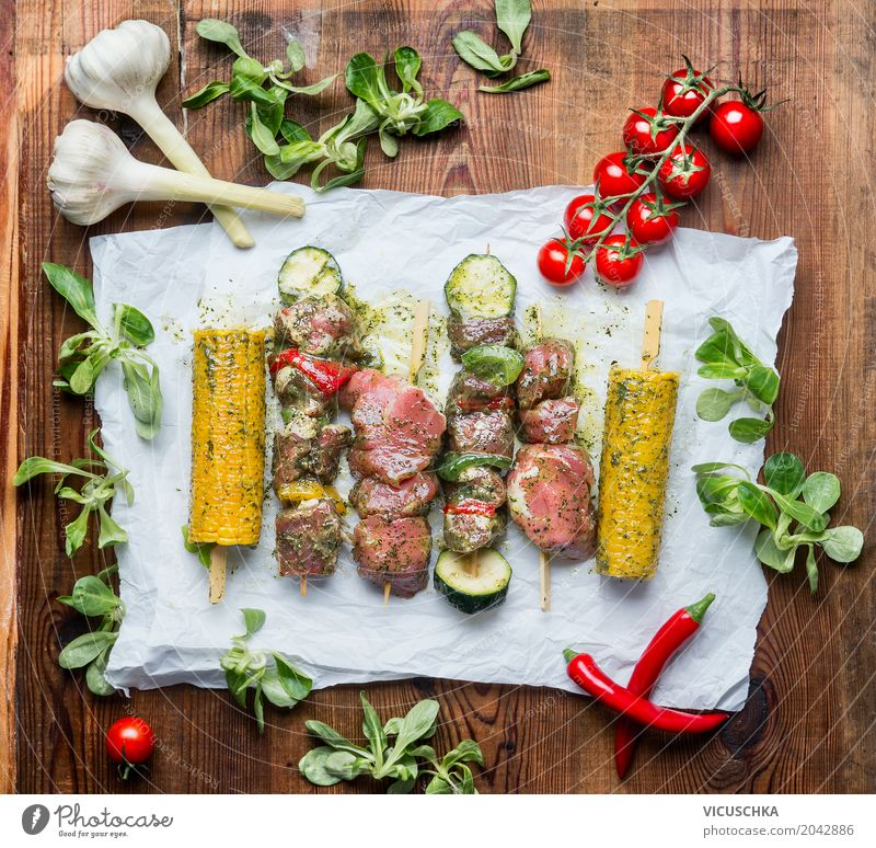 Delicious meat skewers for grill with vegetables and corn on the cob Food Meat Vegetable Herbs and spices Nutrition Lunch Banquet Style Design Table Kitchen