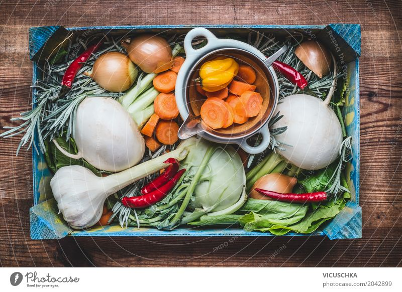 Organic box with vegetables Food Vegetable Nutrition Organic produce Vegetarian diet Diet Shopping Style Design Healthy Healthy Eating Life Summer Table Kitchen