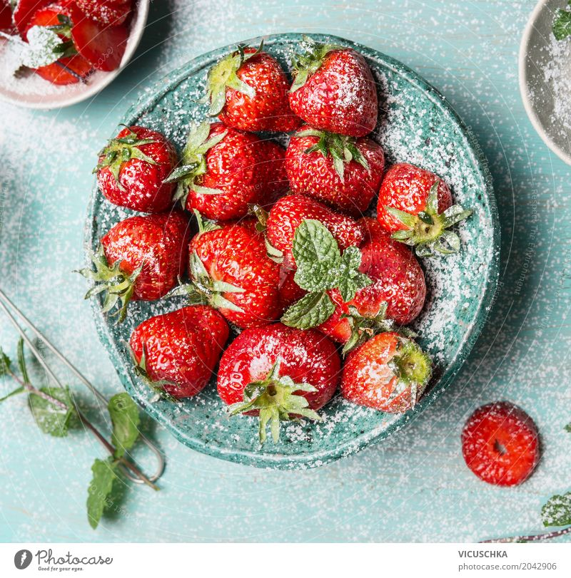Close-up of bowl with strawberries Food Fruit Dessert Nutrition Organic produce Vegetarian diet Diet Crockery Bowl Style Design Healthy Eating Life Summer