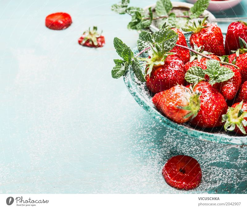 Bowl with strawberries Food Fruit Dessert Style Design Healthy Eating Life Summer Living or residing Garden Table Nature Strawberry Turquoise Blue