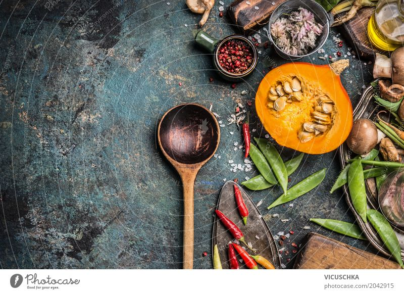 Cooking spoon with pumpkin and cooking ingredients Food Vegetable Herbs and spices Nutrition Banquet Organic produce Vegetarian diet Diet Spoon Lifestyle Design