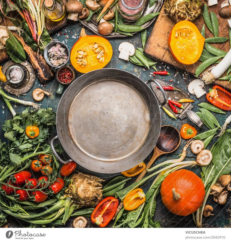 Autumn vegetables for healthy food Food Vegetable Herbs and spices Cooking oil Nutrition Lunch Banquet Organic produce Vegetarian diet Diet Crockery Pot Spoon