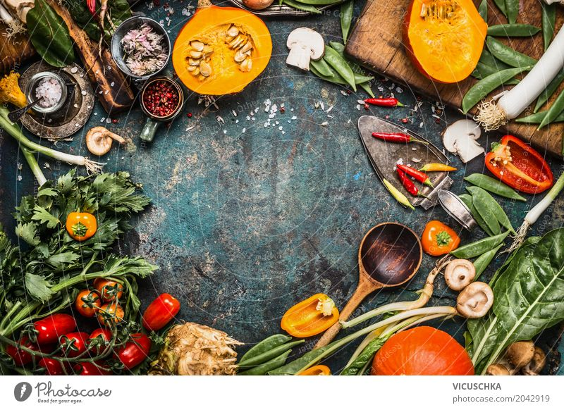 Healthy Eating Food photograph Life Autumn Background picture Style Design Nutrition Table Herbs and spices Kitchen Vegetable Organic produce