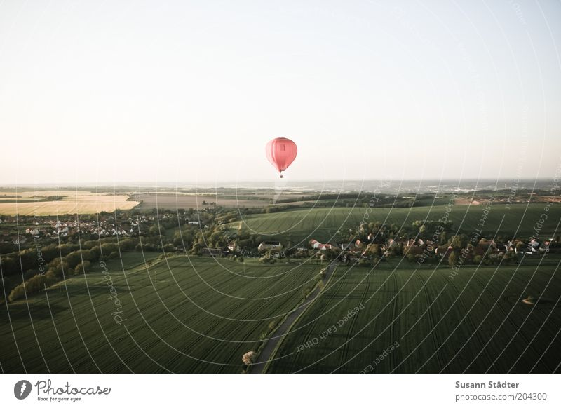 Red Summer Far-off places Street Above Freedom Landscape Earth Field Environment Flying Trip Adventure Driving Village Hot Air Balloon