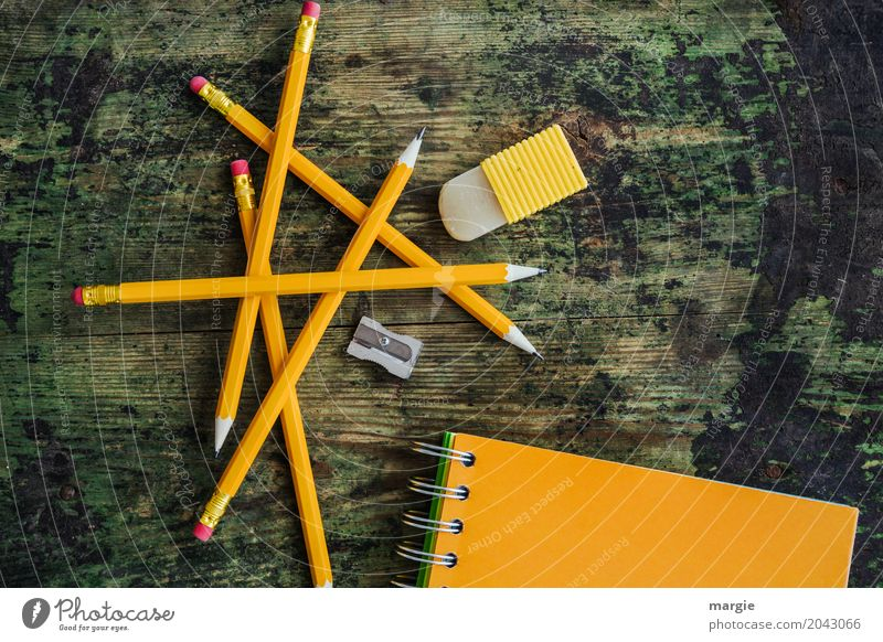Pencil Mikado: yellow pencils with note - booklet, sharpener and eraser School Study Student Profession Advertising Industry Financial institution Mail Business