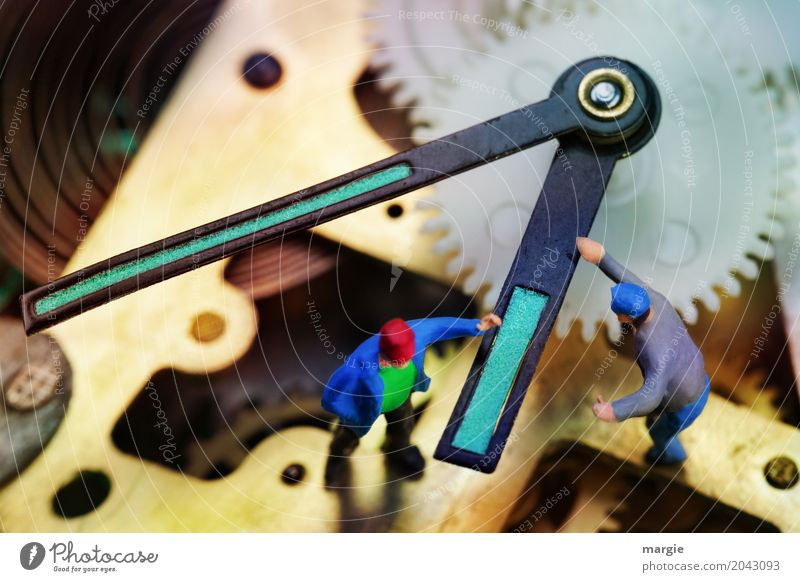 Miniwelten - Turning the clock Model-making Craftsperson Workplace Office Measuring instrument Clock Technology Human being Masculine Man Adults 2 Multicoloured