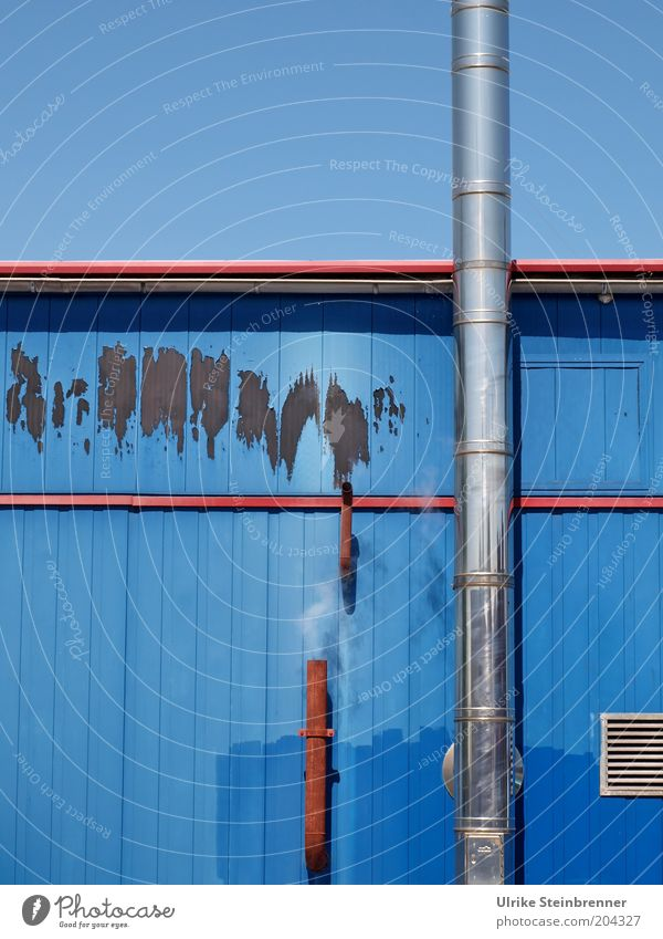 Sky Blue Colour White Red Line Metal Facade Air Smoke Hut Cloudless sky Wooden board Rust Patch Chimney