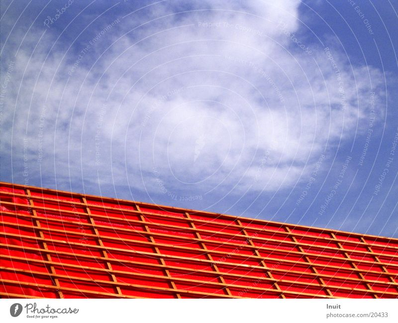 roof Clouds Red Architecture Sky Blue vapour barrier Scaffold