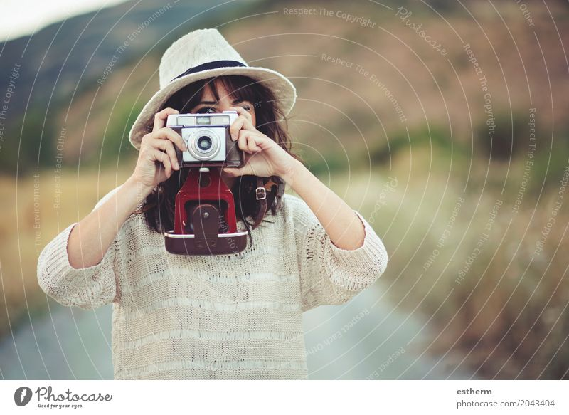 Smiling girl with camera in the field Lifestyle Vacation & Travel Tourism Trip Adventure Freedom Sightseeing Summer Summer vacation Camera Human being