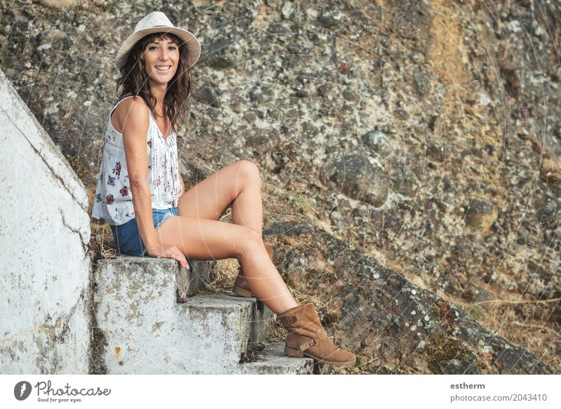 Smiling girl sitting on stairs Lifestyle Summer Summer vacation Human being Feminine Young woman Youth (Young adults) Woman Adults 1 45 - 60 years Fitness