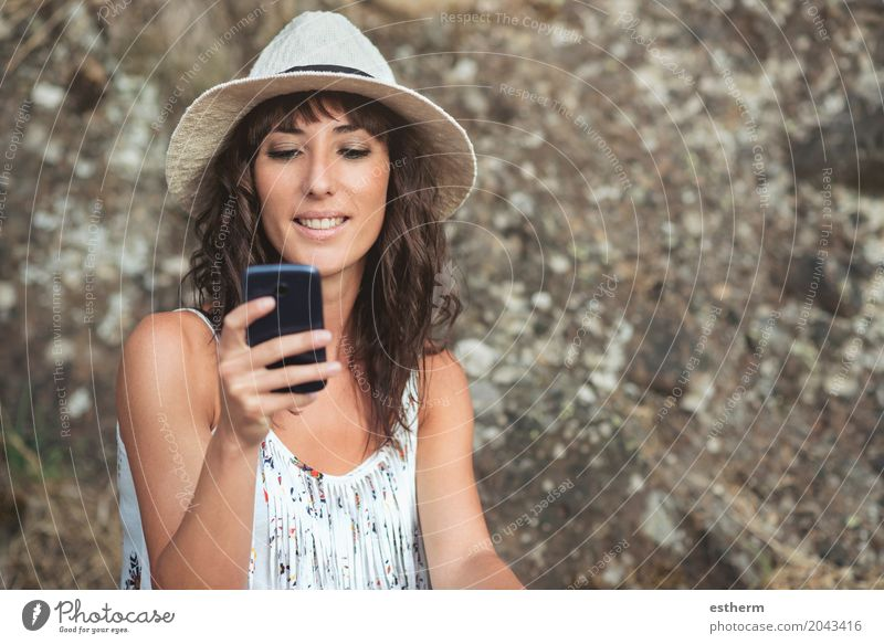 young female using smartphone Human being Woman Vacation & Travel Youth (Young adults) Young woman Adults Lifestyle Moody Body Technology Happiness Adventure Joie de vivre (Vitality) Shopping Internet Thin