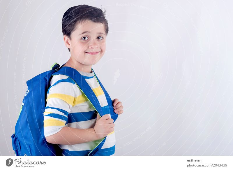 Portrait of smiling schoolboy with backpack Human being Child Joy Lifestyle Emotions Boy (child) Happy School Body Infancy Happiness Beginning To enjoy